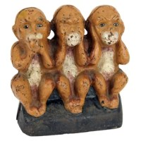 This replica of a 1920's still action cast iron bank, speak no, see no, hear no monkeys, is based on the Chinese proverb regarding three wise monkeys, and will remind you every day to be of good mind, speech and action. The three monkeys bank has a slot on back to receive your coins and will turn a blind eye to how much you are saving. Their finely-detailed design Toscano replica speak no, see no, hear no monkeys still action coin bank is cast in foundry iron from an original then authentically...