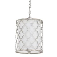 Perfect for bringing a warm rainbow-hued glitter to your foyer and a decadent flash of shimmer to your master suite or bath, this lovely pendant showcases an openwork quatrefoil overlay and a drum shade.