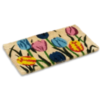 Vibrant colored multi tulips printed on a natural woven doormat hand-made using the ancient craft of weaving a mat from natural coco fibers taken from the husk of the coconut, this doormat helps in scraping the dirt off shoes with its extra thick fibers.