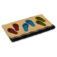 Vibrant colored flip flop design printed on a natural woven doormat hand-made using the ancient craft of weaving a mat from natural coco fibers taken from the husk of the coconut, this doormat helps in scraping the dirt off shoes with its extra thick fibers.