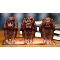The Wayan Rendah Artisan Collection is brought to you by World Menagerie in Association with National Geographic. This beautiful piece was handcrafted by Wayan Rendah in Indonesia. Three monkeys crouch in a row. One covers his eyes, one his ears and one his mouth as they wisely ''see no evil, hear no evil, speak no evil.'' Wayan Rendah carves the whimsical trio from the warm grain of Balinese suar wood, expertly detailing each simian feature. About the Artist: Wayan Rendah's father began...