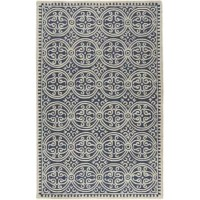 From anchoring the living room and sprucing up a stale master suite, to simply adding warmth to hardwood and tile floors, there's really nothing area rugs can't do! Take this one, for example: handwoven in India from wool, it features an eye-catching geometric pattern with a navy and ivory hue sure to lend your space a classic look. it's a great option for a padded feeling underfoot. We recommend adding a rug pad to help keep this piece in place.