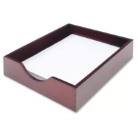 Legal-size tray enhances the functionality of your desk space. Strong, interlocking corner construction eliminates the need for screws or metal fasteners. Beautiful mahogany finish promotes a professional setting in any environment.