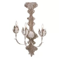 Bringing home a wall sconce can add a dramatic appeal to the existing décor. Take a closer look at this wall sconce. Beautifully crafted this wall sconce has three metal arms with artistically crafted leaves in shape of buds to hold on to the lights. Made from good quality materials this wall sconce is durable and will stay in good condition for many years. It features natural wood hue with a weathered white finish that adds to its chic look. Place it on any wall of your choice, in the living...