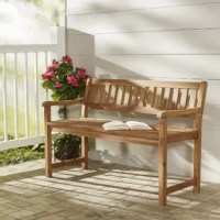 Whether you're soaking up the summer sun solo or entertaining friends alfresco, outdoor furniture is a must. Take this garden bench for example: designed to live outdoors, it is crafted from weather-resistant acacia wood that doesn't mind UV light beaming down or rainstorms rolling through, so it's perfect for placing on your patio. Plus, it lends traditional charm to your ensemble with curved arms and a slatted seat all unfinished for a natural appearance.