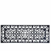 Make the best first impression at your front door with this doormat. It is durable and easy to clean with just a quick rinse under a garden hose. Large rectangular traditional rubber mat with elegant curls.