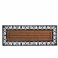 Make the best first impression at your front door with this doormat. It is durable and easy to clean with just a quick rinse under a garden hose. Extra large rectangular traditional rubber and coir doormat with graceful curls.