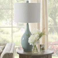 Not only lightweight, portable, and mindful of space, table lamps also keep your home looking on the bright side with just-right task and accent lighting. Take this one for example: crafted from ceramic, it strikes a rounded silhouette and boasts a solid glossy finish for a look that won't easily clash with your current color palette. Up top, it features a drum-shaped shade made from linen that accommodates one 150 W E26 lightbulb inside (not included).