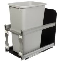 This Real Solutions by Knape & Vogt single 50 qt. soft close trash unit features a heavy duty plastic platform for durability and ease of cleaning. Holds 1 garbage can on a pull-out system installs easily with only 4 screws. Decorative rail accents can be customized to match counter-tops or cabinetry.