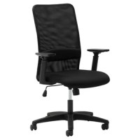 This mesh high-back chair features fixed lumbar support for superior all-day comfort. Controls are easily accessible and intuitive, featuring swivel tilt, tilt tension, and tilt lock. 360-degree swivel allows easy movement in any direction. Padded adjustable height arms fit every user.