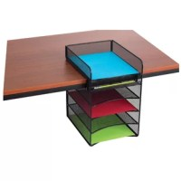 """Organize your office with this powered hanging desktop organizer. Aids in office supplies organization and file storage. One horizontal letter tray for desk top use, Four additional letter trays hang below desk top for additional storage of notebooks and folders. Fits maximum desktop thickness 1.80"""". Steel construction with durable powder coat finish."""