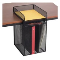 """Organize your office with this Powered hanging desktop organizer. Aids in office supplies organization and file storage. One horizontal letter tray for desk top use, three additional vertical file sections hang below desk top for additional storage of notebooks and folders. Fits maximum desktop thickness 1.80"""". Steel construction with durable powder coat finish."""