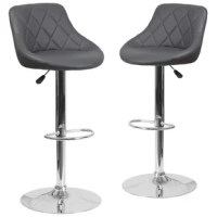 This dual-purpose stool easily adjusts from counter to bar height. The bucket seat design will make this a great accent chair around the bar area or kitchen. The easy to clean vinyl upholstery is an added bonus when stool is used regularly. The height-adjustable swivel seat adjusts from counter to bar height with the handle located below the seat. The chrome footrest supports your feet while also providing a contemporary chic design. To help protect your floors, the base features an embedded...