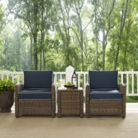 Unwind in beach-chic style when you sit back and relax with this 3-piece deep seating group. Showcasing a woven rattan design, neutral-toned cushions, and a dark brown or gray finish, this set is brimming with coastal charm. It also features an all-weather resin wicker frames and moisture-resistant cushions for lasting appeal. Try setting these two armchairs and one side table on your patio for a cozy space to chat with a friend or finish up your latest read. Want to lean into the breezy beachy...