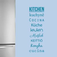 Kitchen, Kuchynì, Cocina, Küche, Keuken, Mutfak, Keittiö, Konyha, Cucina. Each meaning for kitchen written in a different language, this wall decal is both sophisticated and fitting for a narrow blank space!
