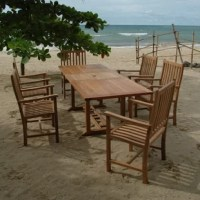 8-Foot rectangular extension table set is made of a plantation grown teak wood, which gives you irresistible looks and lasting durability. Simply remove the umbrella brass plug to easily add shade. With this table, you will enjoy a comfortable, elegant outdoor setting for truly memorable gatherings.