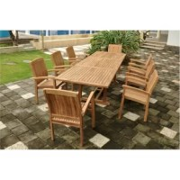 This table is combining with armchair which has traditional curved back style-dining chair which will hold your back comfortably. The style will never go out, but quietly blends with any other design. The seat is very sturdy as well as the back.