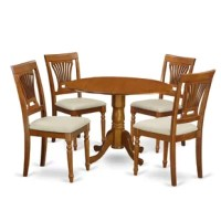 5 Piece kitchen round table with 2 drop leaves and 4 Plainville chairs with cushion seat in a saddle brown finish. Stunning drop leaf kitchen dining table set illustrates the natural elegance of Asian hardwood polished in a smooth Saddle Brown, that brings up complexity and formality. This finish will really show off the subtle, yet expressive qualities of this dining set.  The round small table offers along with two drop leaves which you may easily use if you want extra space or everyone can...