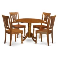 5 Piece kitchen round table with 2 drop leaves and 4 dining chairs with wood seat in a saddle brown finish. Stunning drop leaf kitchen dining table set illustrates the natural elegance of Asian hardwood polished in a smooth Saddle Brown, that brings up complexity and formality. This finish will really show off the subtle, yet expressive qualities of this dining set.The round small table offers along with two drop leaves which you may easily use if you want extra space or everyone can just leave...