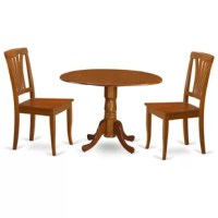 3 Piece kitchen round table with 2 drop leaves and 2 dining chairs with wood seat in a saddle brown finish.The drop leaf small kitchen table set are of compact size, which is good for smaller dining room. Built from Asian wood, the round dining table set is finished in a glossy saddle brown finish.The small dinette set match perfectly in any classic dining area or dining-room.Supported by a one pedestal, this type of circular kitchen table even has user-friendly two drop leaves. Its...