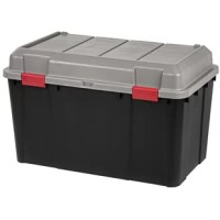 This set of three Hinged-Lid Utility Trunks by Iris is perfect for organizing clutter in your garage, shed, attic, and basement. Keep your valuables secure with a padlock or zip tie. The domed lid allows extra storage space for bulky items such as basketballs and soccer balls, sleeping bags, blankets, and much more.