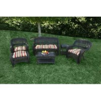 Whether hosting a backyard barbecue or casually catching up with close friends on the patio, this six-piece sofa set is a must-have for your outdoor ensemble. Crafted from wicker rattan, each piece boasts a solid finish and includes weather resistant cushions made from polyester on the two chairs, ottoman, and loveseat, while the coffee table and side table provide a place to perch a snack tray, refreshments, you name it!