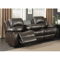 Give your living room, family room or man cave a new look with this comfortable dual reclining sofa. Entertaining, kicking back or gaming will be a breeze with the center drop-down table that includes two built-in cup holders. Regardless if you're snacking, working from home, studying or just lounging around; this sofa will provide the comfort you need for plenty of years.
