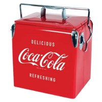 Make a statement with this fun and functional Vintage Coca-Cola Ice Chest Cooler. The 13 L capacity keeps up to 18 cans ice cold and ready to enjoy, and the thick durable liner make this cooler easy to clean. The built-in bottle opener also lets you enjoy ice cold Coca-Cola in bottles without ever having to search for an opener.