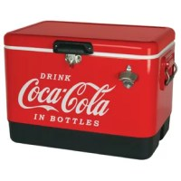 Stay cool with the Coca-Cola Red Steel Belted Ice Chest. This is the perfect ice chest for your next summer BBQ, camping trip or sports event. The spacious 54 quart capacity can fit up to 85 cans, and if you prefer Coca-Cola in the classic bottle, there's a built-in bottle opener for you to use. The Coca-Cola Red Steel Belted Ice Chest is built-tough to endure outdoor use. The stainless steel handles are coated with a rubber grip to make this cooler easy to carry. The solid latch lid securely...
