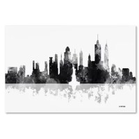 This ready to hang, gallery-wrapped art piece features a black and white painted skyline of New York, New York. Giclee is an advanced printmaking process for creating high quality fine art reproductions. Gallery wrap is a method of stretching an artist's canvas so that the canvas wraps around the sides and is secured a hidden, wooden frame. This method of stretching and preparing a canvas allows for a frameless presentation of the finished painting.