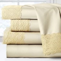 One Allium Way 300 Thread Count Lace Sheet Set is made of 100% cotton and has a single-ply construction for durability and softness.