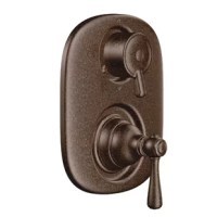 This single-handle shower trim is constructed of metal. The lever style handles are pull-on/push-off operation of the temperature volume with rotational control of the transfer valve. Functional and beautiful addition to any bathroom.