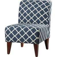 Bring a preppy pop of pattern to any seating group with this understated slipper chair, the perfect pick for your inviting entertainment area. Featuring tapered, dark brown-finished legs and foam-filled polyester upholstery (available in a variety of colors), this chair brings a warm touch to your ensemble, while the quatrefoil trellis print adds a bit of pattern and visual appeal to the piece. This chair sits low to the ground, making it ideal for casual conversation spaces.