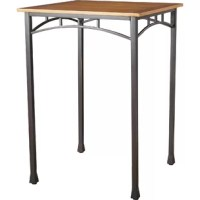 """Blending factory chic style with streamlined simplicity, this charming counter-height pub table is the perfect piece to anchor your open concept, eat-in kitchen or curated home bar ensemble. Crafted from wood with oak veneers, the 30"""" square tabletop sports a warm brown stain in a tastefully distressed finish for well-worn charm. Made from tubular metal in a blackened bronze finish, the architectural table base features arched apron panels and four straight legs."""