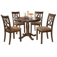 Anchor your dining room in traditional style with this 5-piece dining set. Its table's circular design makes it easy to gather four guests around for breakfast or dinner, and facilitates easy conversation. It's crafted from solid and engineered wood, and is finished in a rich brown cherry hue. Up top, it showcases a subtle pinwheel design with wood grain variation. Down below, a turned pedestal base with four curving feet finishes it off. Four chairs with latticed backs and upholstered seats...