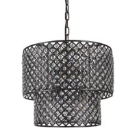 This beautiful crystal beaded drum shade chandelier is a perfect answer when you need drama in a room that does not overwhelm. It has antique black finish hardware against the crystal design. It has two layers of lampshade surrounding the eight lights that filter the light and casts a glow of light in a room that is dramatic and stirring for the eye. This light has a classic antique look with its hardware and gleaming crystals. It is a perfect addition to any design plan and pulls any room...