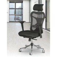 Ergo executive chair is a pneumatically adjustable, ergonomically designed chair that provides the ultimate in comfort. The padded and contoured seat slides in and out from back of the chair. Stylish mesh back tilts and features an adjustable lumbar support. The headrest is height adjustable. Executive chair also includes height-adjustable, swiveling armrests. Functions include pneumatic seat-height adjustment, back-height adjustment and tilt tension.