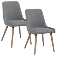 Staying true to its mid-century modern style, this side chair is composed of a myriad of contrasting materials. By incorporating metal, fabric, and solid wood all into one cohesive design, this chair focuses on functional use while also highlighting a polished and streamlined appearance. Beginning with a sturdy metal chair frame, each chair is crafted with a soft foam seat cushion and upholstered. The solid rubberwood legs create the perfect base. With the implementation of clean lines and the...