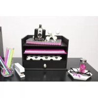 Organize that clutter off your desk with this adorable yet functional desktop organizer! This letter tray contains a drawer that fits standard paper, two cubbies and a letter tray. This desktop organizer is functional in your office, home office, kitchen or any room of the home that needs a better clutter control system!