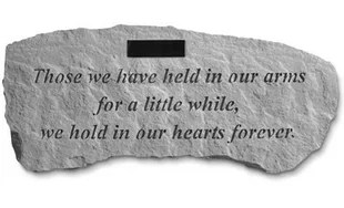 Proudly made in the USA this cast stone garden bench is the perfect accent to any garden or landscape. Whether it's a sentiment to a loved one or to celebrate or remember someone special, these momentos will be sure to evoke emotion in anyone who reads them. Made from cast stone (not plastic) they will stand the test of time.