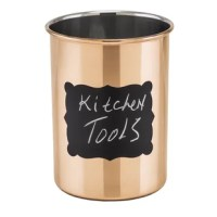 With its bright as a penny finish, this copper-plated stainless steel kitchen utensil crock s a decorative and convenient solution to storing your favorite spatulas, spoons and such on your countertop where they're easily at hand. now featuring a chalkboard surface, you can label it or personalize it however you want. Each utensil crock includes chalk.