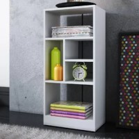 This Standard Bookcase is the perfect solution to meet all your storage needs. With unique shape and size shelves, Valencia is a pure eye-catcher and will look remarkable in any setting. Its modern white finish provides just the clean and sleek appearance you are looking for. The 5 shelves with a few backboards. Made of high-quality MDP with a white finish. Perfect for your bedroom, living room, home office, kid's room, and classroom.