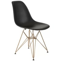 Bring contemporary flair and sleek style to any space of your home with this elegant chair. Brimming with modern inspiration, this design effortlessly elevates your aesthetic with unexpected elegance. Showcasing a retro-inspired design, it blends a rounded silhouette with a glossy finish for an eye-catching and sophisticated look. Its metal flared legs support it in geometric style, while the crisp finish on the polycarbonate seat elevates the look with sleek style.