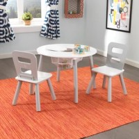 The Kid's 3 Piece Round Table and Chair Set is a sturdy furniture set that also provides plenty of convenient storage space.