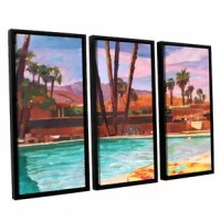 The Palm Springs Pool by Marcus/Martina Bleichner 3 Piece Floater Framed Painting Print on Canvas Set is a high-quality canvas print of a relaxing poolside in the California sun. It would make a relaxing addition to any home or office.
