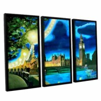 London Big Ben And Parliament With Thames by Marcus/Martina Bleichner 3 Piece Floater Framed Painting Print on Canvas Set is a high-quality canvas print of the artist's impressionist take on the classic nighttime cityscape of London, England. A vibrant, urban and cultural addition to your home or office.