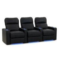 Who needs to head to the cinema when you can have a theatrical experience right at home with this row of three recliners? This triple Seaters features a frame of metal and solid kiln-dried hardwood. Bonded leather upholstery in your choice of tone wraps around, while you can unwind with cup-holders atop each armrest and reclining function (manual or power).