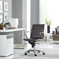 Gradually elevated steps take you higher with the Mid-Back Desk Chair with arms. Wind steadily through the day as you progress forward to achieve your goals. Depict comes with a padded vinyl back and waterfall seat, chrome-plated steel frame, polished aluminum base, five dual-wheel nylon casters for easy movement over hardwood or carpeted surfaces, full 360-degree swivel, tilt tension control knob and pneumatic height adjustment. Perfect for the modern home or office workspaces.