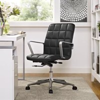 Cushion your progress with the tile office chair in vinyl. Steadily advance through the day with a finely upholstered boxed seat pattern and sleek brushed aluminum armrests sure to impress. Tile comes with a padded waterfall seat, polished steel base with 5 dual-wheel casters for easy movement over hardwood or carpeted surfaces, full 360-degree swivel, tilt tension control knob and pneumatic height adjustment. Perfect for the modern home or office workspaces.