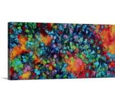 Abstract artwork that has lots of bright colors painted in tiny squares and grouped together by warm and cooler tones.